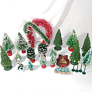 Lot Christmas Bottle Brush Trees And Decorations 26 Items