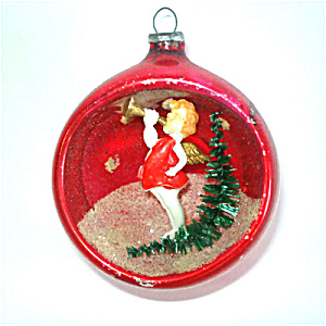 Angel Blowing Horn 1950s Diorama Indent Scene Christmas Ornament (Image1)