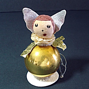 Glass And Composition Whimsy Angel Christmas Ornament
