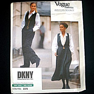 Vogue Dkny Designer Jumper Jumpsuit Sewing Pattern Uncut