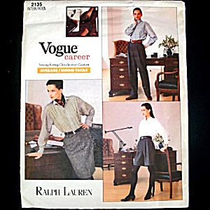 Vogue Ralph Lauren Career Pants Skirt Uncut Sewing Pattern