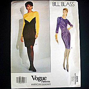 Vogue Bill Blass Draped Waist Dress Sewing Pattern Uncut