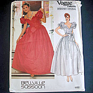 Vogue Bellville Sassoon Formal or Bridal Dress Sewing Pattern Uncut Size 6 (Image1)