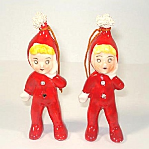 Ceramic Pixie Girl With Rhinestone Eyes Christmas Ornaments (Image1)