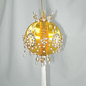 Golden Yellow With Pearls Pin Beaded Christmas Ornament