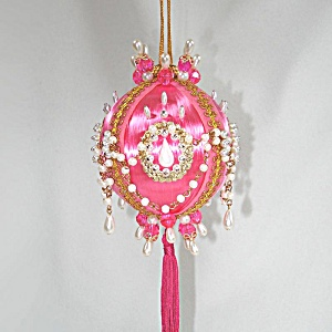 Pink With Chained Pearls Pin Beaded Fancy Christmas Ornament