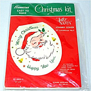 1959 Jolly Santa Johnny Cover Sequin Bead Christmas Toilet Lid Kit (Image1)