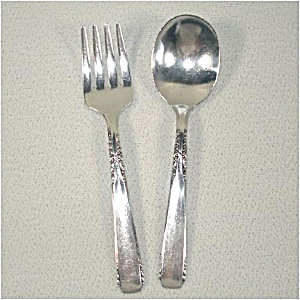 Brookwood Oneida Silverplate Child's Flatware Baby Fork and Spoon (Image1)