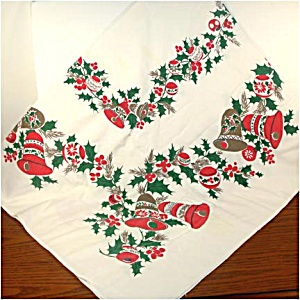 Christmas Bells, Ornaments, Holly Tablecloth 53 by 64 (Image1)
