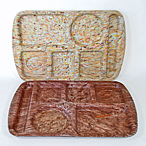 Chocolate Brown Confetti Speckle Melmac School Lunch Tray (Image1)
