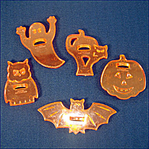 Set Transparent Orange Plastic Halloween Cookie Cutters (Image1)