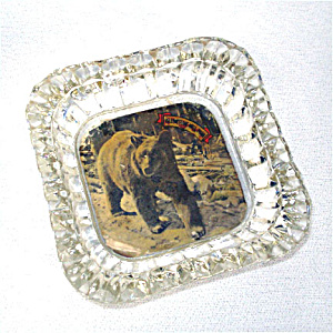 Yellowstone Souvenir Glass Ashtray With Bear Photo (Image1)