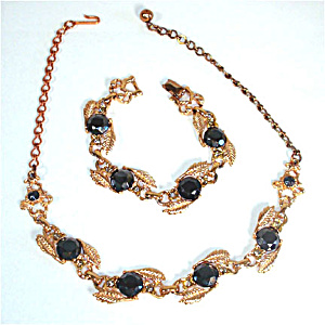 Black Glass Stones in Linked Leaf Setting Demi Parure Necklace and Bracelet (Image1)