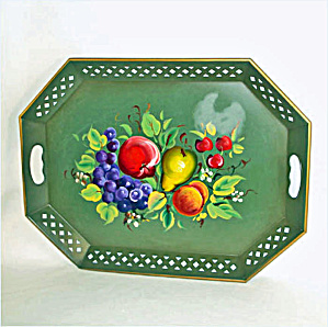 Nashco Tole Tray Green With Fruit (Image1)