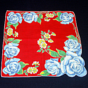 Bold Blue Roses On Red Ladies Cotton Hankie