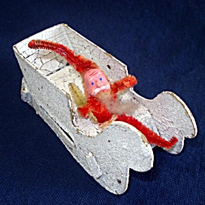 Antique Chenille Santa In Cardboard Sleigh Christmas Candy Container