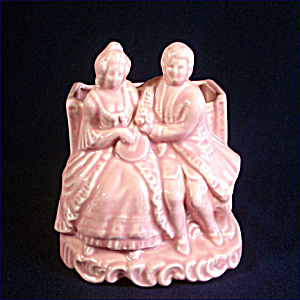 Colonial Couple Pink Pottery Planter