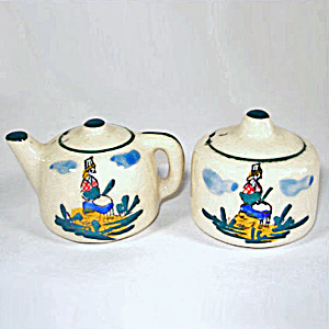 Dutch Woman Teapot Pottery Salt And Pepper Shakers
