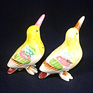 Colorful Pastel Birds Ceramic Salt And Pepper Shakers