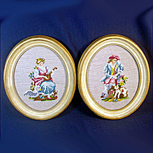 Pair Oval Renaissance Couple Needlepoint Pictures