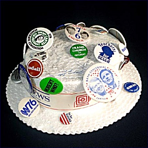 1976 Democratic Convention Autographed Hat With Political Campaign Pinbacks (Image1)