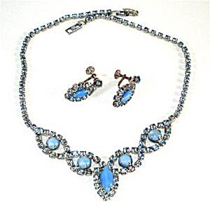 Beautiful Blue Rhinestone and Moonglow Necklace Earrings Set (Image1)