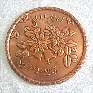 1925 Swedish Embossed Copper Julen Christmas Plaque (Image1)