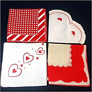 3 Valentine Hearts, Lace, And Polka Dots Red And White Hankies