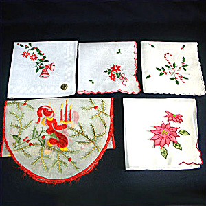 4 Vintage Christmas Hankies Plus Embroidered God Jul Runner