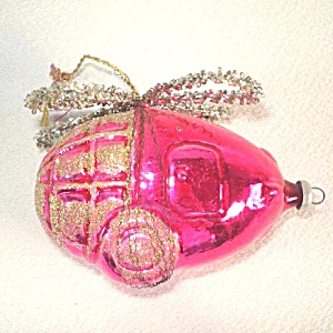 Pink Wired Glass Helicopter West Germany Christmas Ornament (Image1)