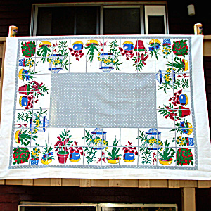 Startex Houseplants Vintage Cotton Tablecloth 67 By 52