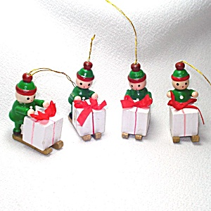 Sledding Santa's Elves 1970s Wooden Christmas Ornaments