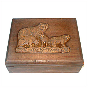 Carved Wooden Yellowstone Bears Dresser or Jewelry Box (Image1)