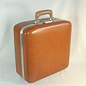 Brown Hard Shell 1960s Small Overnight Suitcase (Image1)