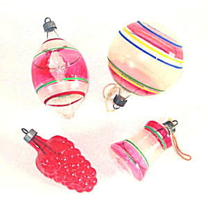 Premier Glass 4 Unsilvered Shapes Christmas War Ornaments Red Stripes (Image1)
