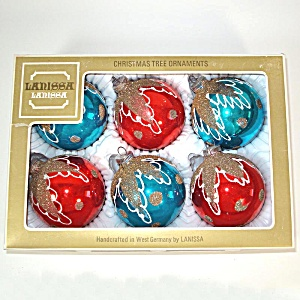 Box Lanissa 1950s Red Blue Mica Glitter Christmas Ornaments (Image1)