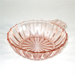 Hocking Fortune Pink Depression Glass Handled Dessert Bowl (Image1)