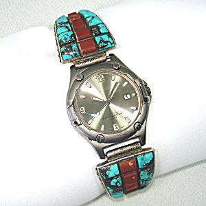Man's Native American Sterling, Turquoise, Coral Watch Band