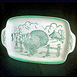 Bell of California 1950s Pottery Turkey Farm Scene Platter (Image1)