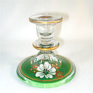 1930s Indiana Glass Candlestick Enamel Dogwood Decoration (Image1)