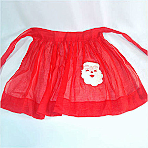Child's Sheer Red Christmas Santa Claus Apron (Image1)
