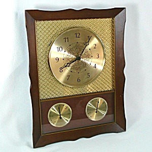 1960s Westclox Taurus Brass Mesh Wall Clock Weather Station