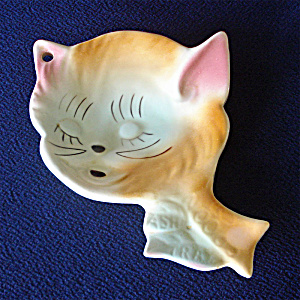 1960s Ceramic Kitty Cat Face Spoon Rest