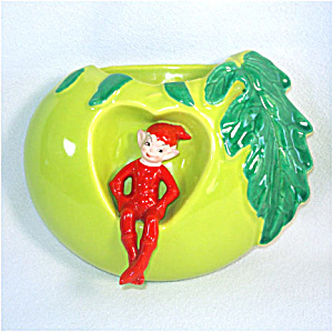 Gilner 1950 Pixie Elf in Green Apple Wall Pocket (Image1)