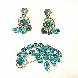 Turquoise Rhinestone Comet Brooch and Earrings (Image1)