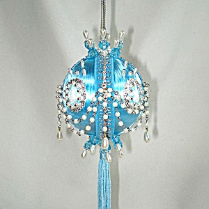 Chained Pearls On Blue Satin Pin Beaded Christmas Ornament