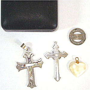 Sterling Silver and Abalone Inlay Cross Pendants With Mother of Pearl Heart (Image1)