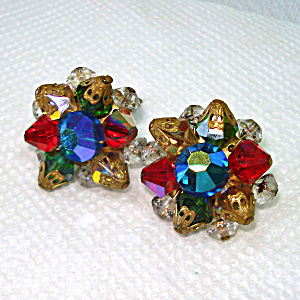 Cut Crystal Cluster Clip Earrings Red Green Blue