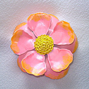 Pink Orange 60s Mod Flower Power Enamel Pin Brooch