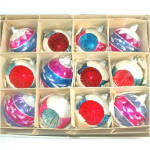 Box Poland 1950s Pink Blue White Mica Glass Christmas Ornaments